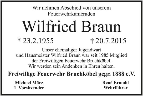23.06.2015 Trauer um Wilfried Braun